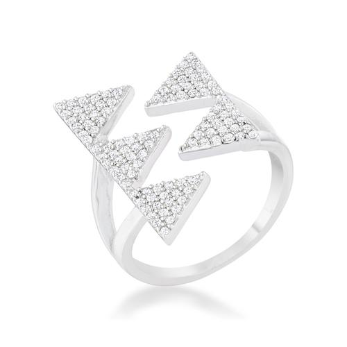 Nori 0.63ct CZ Rhodium Geometric Contemporary Ring-Rings-SJI Shop