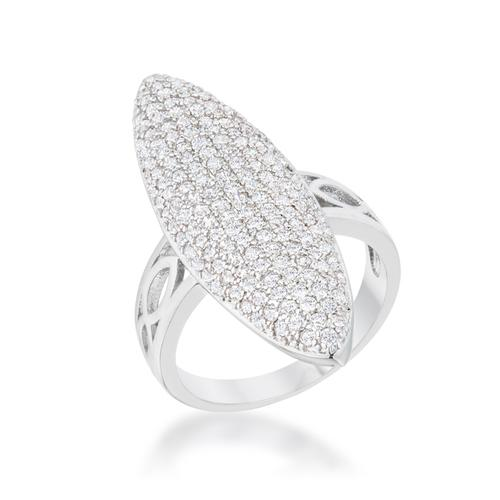 Bella 2.3ct CZ Rhodium Contemporary Cocktail Ring-Rings-SJI Shop