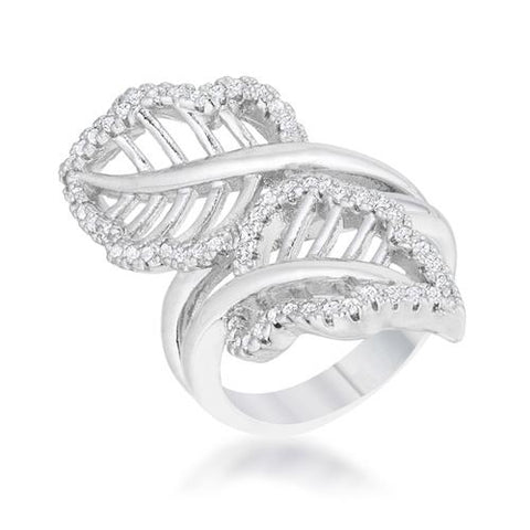 Lina 0.4ct CZ Rhodium Leaf Wrap Ring-Rings-SJI Shop