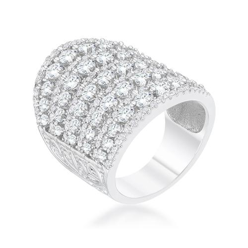 Charlyn 2.5ct Rhodium CZ Statement Cocktail Ring-Rings-SJI Shop
