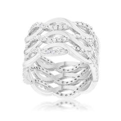 Contemporary 0.88ct CZ Rhodium Twist Wide Cocktail Ring-Rings-SJI Shop