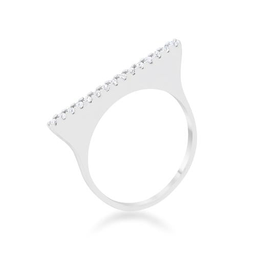 Karolina 0.2ct CZ Rhodium Contemporary Simple Ring-Rings-SJI Shop