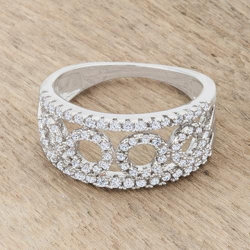 Rina 0.5ct CZ Rhodium Contemporary Band Ring-Rings-SJI Shop
