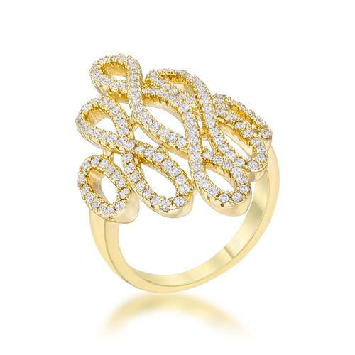 Natasha 0.94ct CZ 14k Gold Contemporary Cocktail Ring-Rings-SJI Shop