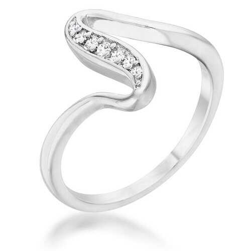 Sheryl 0.07ct CZ Rhodium Simple Wave Ring