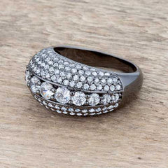 Krista 1.5ct CZ Hematite Contemporary Cocktail Ring-Rings-SJI Shop