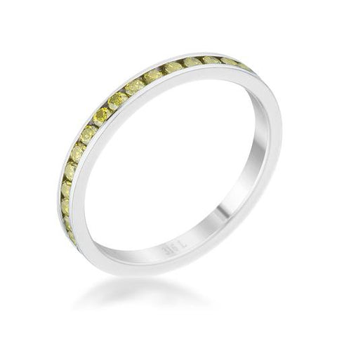 Teresa 0.5ct Peridot CZ Stainless Steel Eternity Band-Rings-SJI Shop