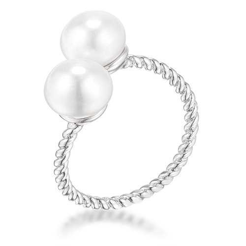 Rhodium Plated Twisted Rope Freshwater Pearl Wrap ring-Rings-SJI Shop