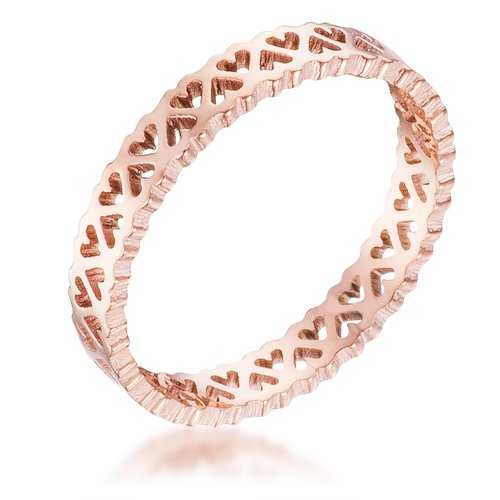 Stainless Steel Rose Goldtone Eternity Hearts Ring