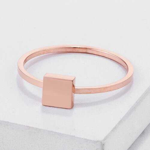 Stainless Steel Rose Goldtone Plated Square Stackable Ring