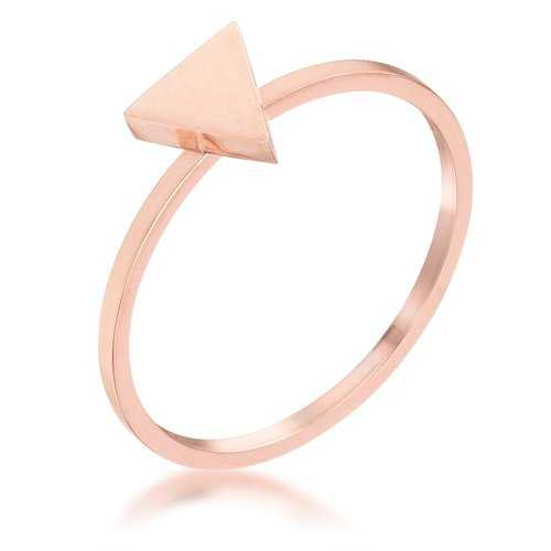Stainless Steel Rose Goldtone Plated Triangle Stackable Ring