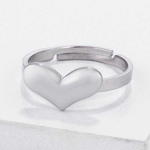 Stainless Steel Adjustable Heart Ring