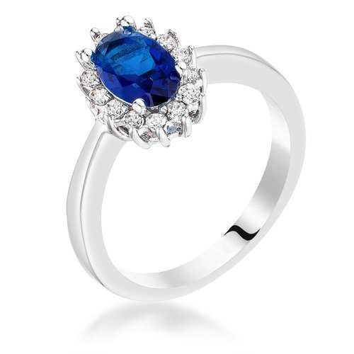 Sapphire Blue CZ Petite Oval Ring