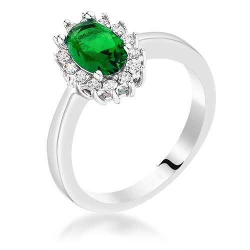 Emerald Green CZ Petite Oval Ring