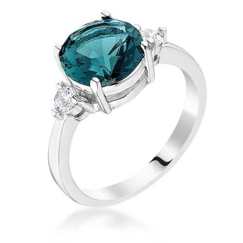 Exquisite Blue Green Three Stone CZ Engagement Ring