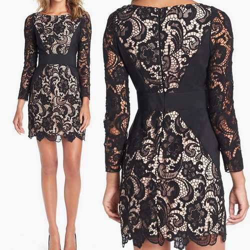 Long Sleeve Crochet Lace Panel Bodycon Pencil Dress-Women Dresses-SJI Shop