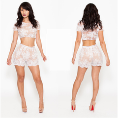 Plus size  New Arrival Sexy 2 Pieces lace  Bandage Dress