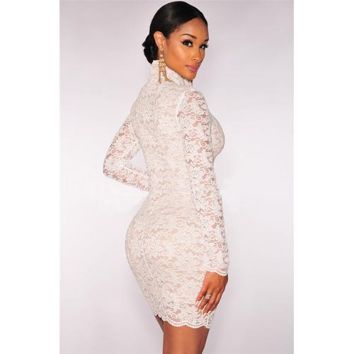 Elegant Embroider Lace High Neck Mini Dress White-Women Dresses-SJI Shop