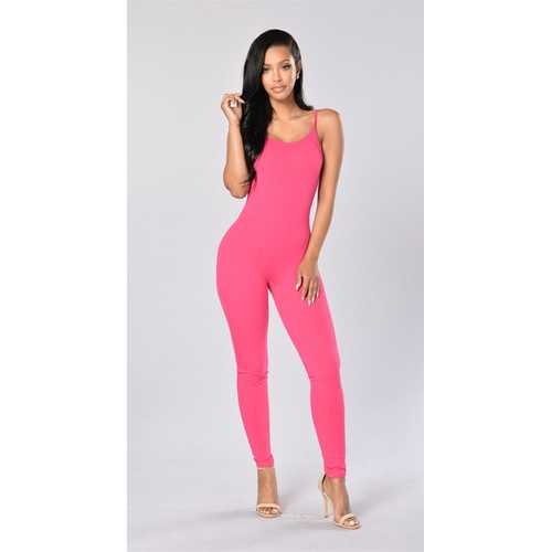 Women Spaghetti Strap Bodycon Dress Tank One Piece Jumpsuits Pink
