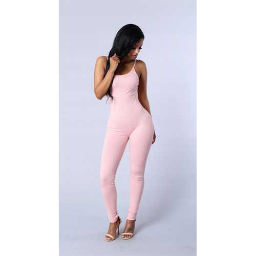 Women Spaghetti Strap Bodycon Tank One Piece Jumpsuits Pink