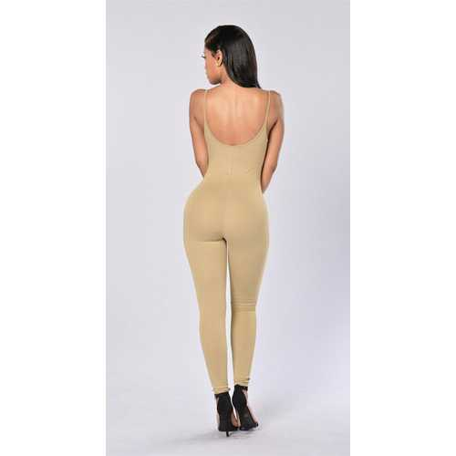 Women Spaghetti Strap Bodycon Tank One Piece Jumpsuits Apricot
