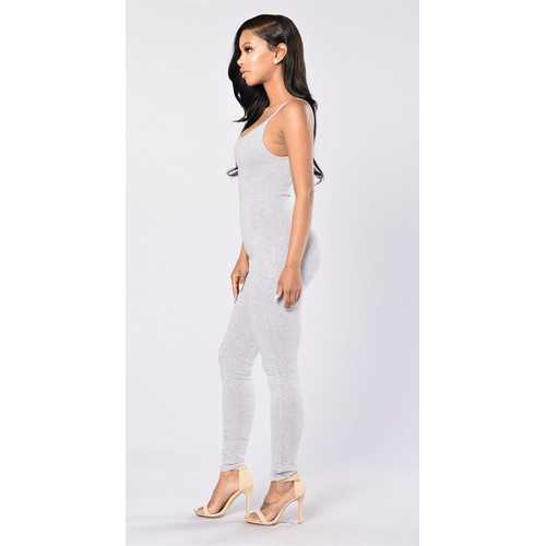 Women Spaghetti Strap Bodycon Tank One Piece Jumpsuits Light Gray