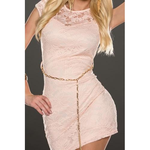 Sleeveless lace sexy mini dress in pink-Women Dresses-SJI Shop