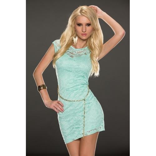 Sleeveless lace sexy mini dress in light blue-Women Dresses-SJI Shop