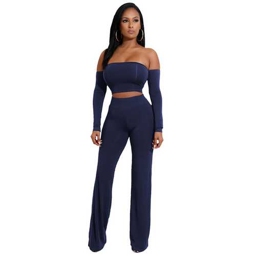 Royalblue  Strapless Long Sleeve Strappy Two-piece Of Pantsuit