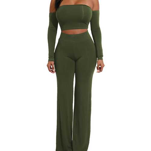 Army Green Strapless Long Sleeve Strappy Two-piece Of Pantsuit