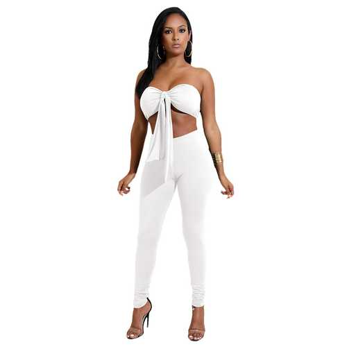 White Strapless With A Cup Cover Two-piece Of Pantsuits