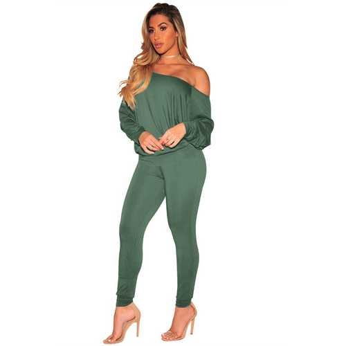 Casual Off Shoulder Long Sleeve Jumpsuit