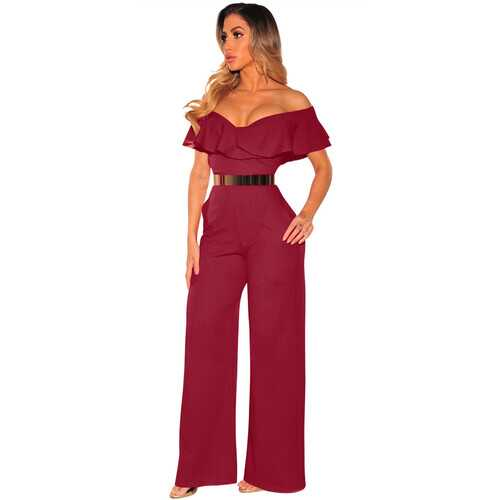 Royal Belted Wide Leg Jumpsuit