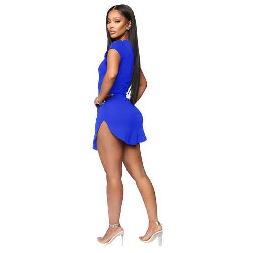 Women Bodycon Dress Bright Blue Sexy Tight Irregular Hem Short Sleeve Mini T-Shirt Dress