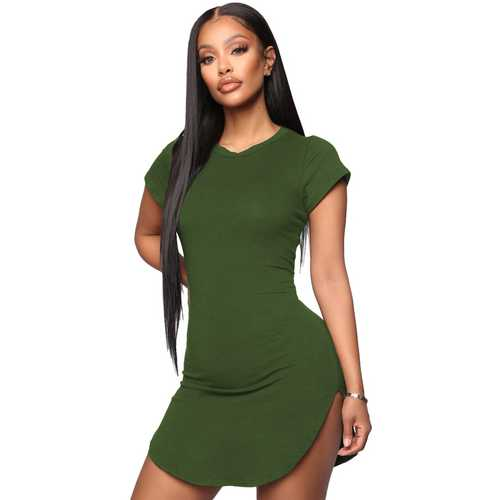 Women Bodycon Dress Army Green Sexy Tight Irregular Hem Short Sleeve Mini T-Shirt Dress