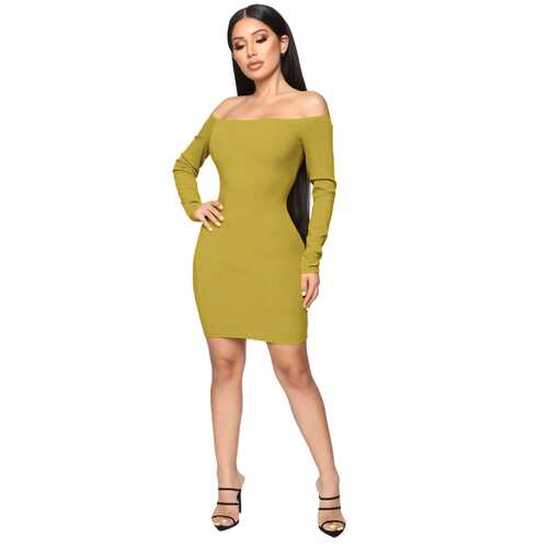 Solid Yellow Off-shoudler Long-Sleeve Mini Dress