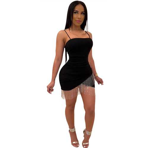 Black Sexy Bodycon Dress Women Strap Tassels Dress With Real Silver Stone
