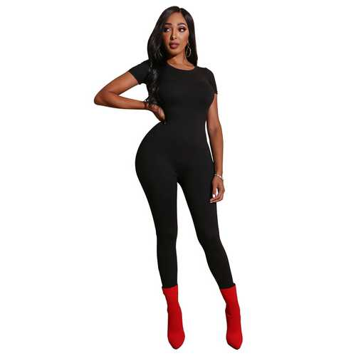Black  Women Short Sleeve Solid Bodycon Jumpsuits