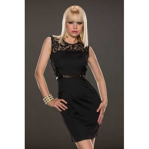 Black Lace Patchwork Dress with Belt