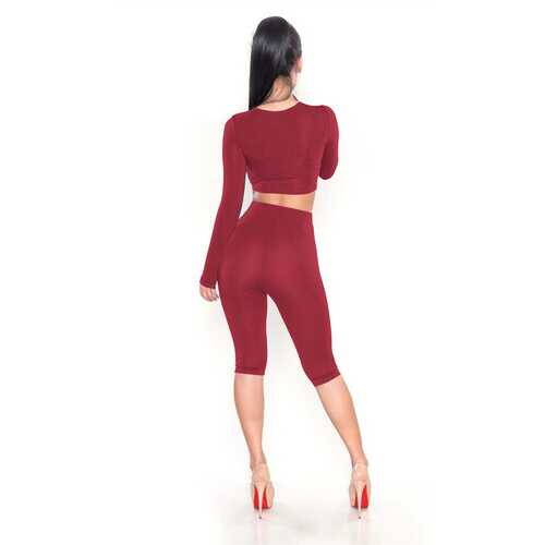 Long Sleeves Crop Top Skinny Jumpsuit