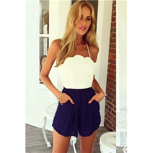 Sophisticated White Crochet Lace Top Navy Blue Chiffon Button Jumpsuit-Women's Jumpsuits & Rompers-SJI Shop