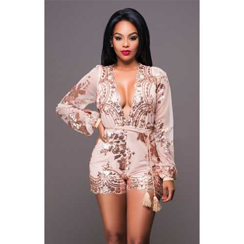 Women's Sequins Deep V Party Playsuit Romper