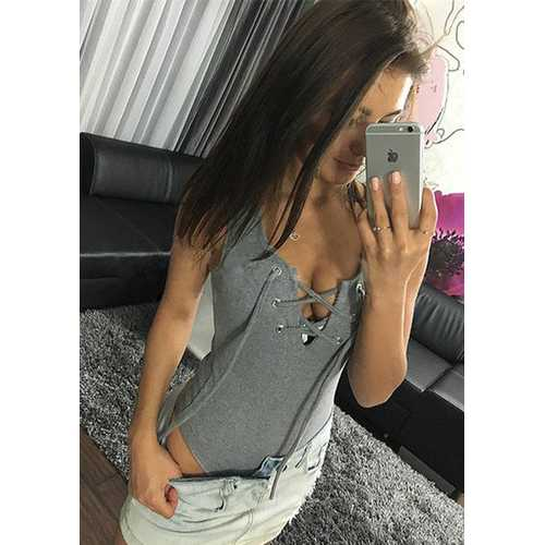 Women Cross Front Lace Up Bandage Tight Bodysuit Gray