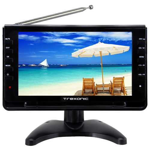 "Trexonic Ultra Lightweight Rechargeable Widescreen 9"" Portable LCD TV with SD, USB, Headphone Jack, Dual AV Inputs and Detachable Antenna-Portable Electronics-SJI Shop"