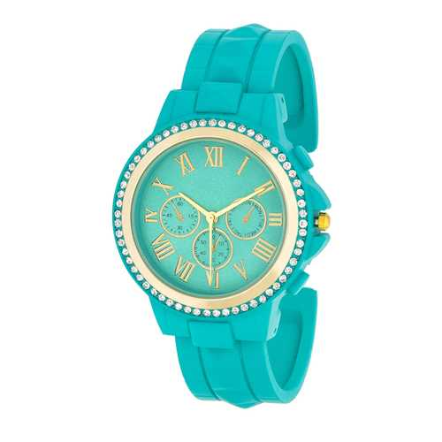 Ava Gold Turquoise Metal Watch With Crystals