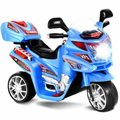 20-day Presell 3 Wheel Kids Ride On Motorcycle 6V Battery Powered Electric Toy Power Bicyle New-Blue - Color: Blue