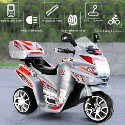 20-day Presell 3 Wheel Kids Ride On Motorcycle 6V Battery Powered Electric Toy Power Bicyle New-Gray