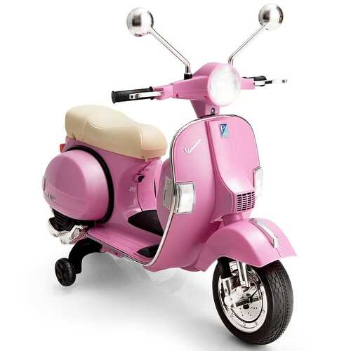 6V Kids Ride on Vespa Scooter Motorcycle with Headlight-Pink - Color: Pink