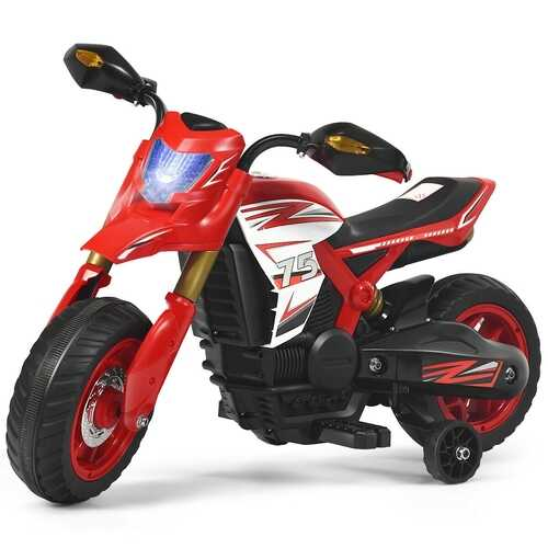 6V Electric Kids Ride-On Battery Motorcycle with Training Wheels -Red - Color: Red