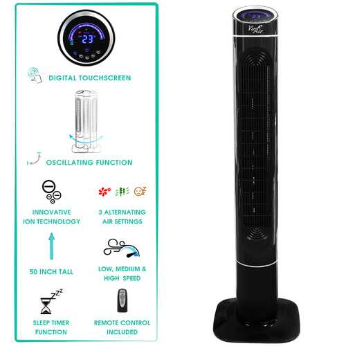 Vie Air 50 Inch Luxury Digital 3 Speed High Velocity Tower Fan with Fresh Air Ionizer and Remote Control in Black